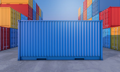 Stack of containers box, Cargo freight ship for import export business Wall mural