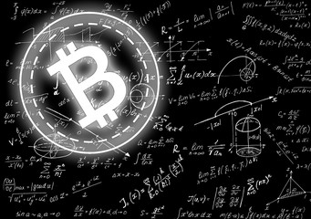 Math physics formulas and symbol on black background