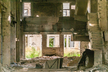 Abandoned old industrial building interior