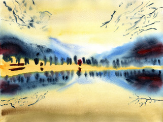 Watercolor background. High cloudy sky over the lake with reflections of bank trees.