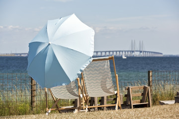 Sunchairs Looking over Oresund in Dragor Copenhagen Denmark