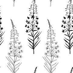 Vector floral seamless pattern with hand drawn  summer wild  flowers.