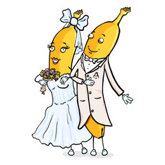 Vector Cartoon Character - Banana Just Married Couple. Wedding Ceremony. Groom and Bride.
