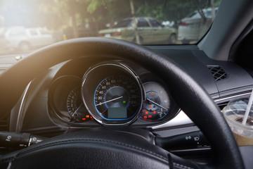Inside car control wheel steering