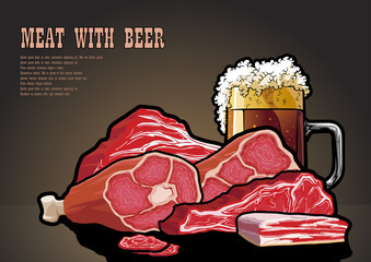 Meat and beer on the table