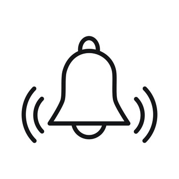 simple flat black outline vector icon alarm bell ringing reminder concept