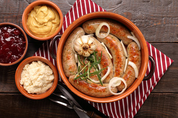 sausages baked in a bowl