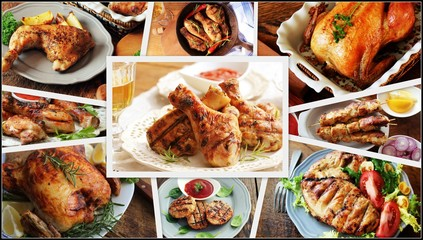 Collage of chicken meals . Set from various kinds of restaurant menu dishes