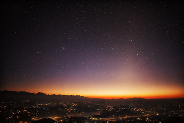 Stars and Dawn over Himalayan Mountains Seen from Nagarkot, Nepal