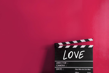 Love text title on film slate