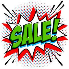 Comics style sale tag. Green sale web banner. Pop art comic sale discount promotion banner. Big sale background. Decorative background with bomb explosive. Comics pop-art style bang shape on halftone
