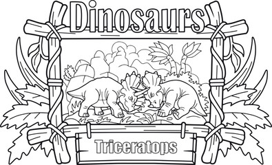 fight of two cartoon triceratops, funny illustration