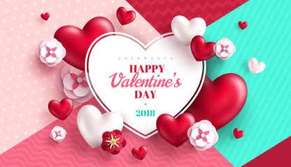 Valentine's day concept with heart frame