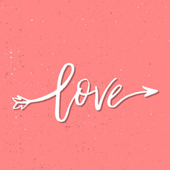 I Love You - Inspirational Valentines day romantic handwritten quote. Good for greetings, posters, t-shirt, prints, cards, banners.  Vector Lettering. Typographic element for your design