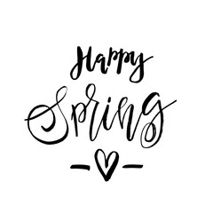 Happy Spring - Hand drawn inspiration quote. Vector typography design element. Spring lettering poster. Good for t-shirts, prints, cards, banners.