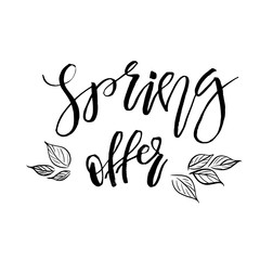 Special Spring Offer - Hand drawn inspiration quote. Vector typography design element. Spring lettering poster. Template for Flyers, banners, advertise, marketing, promotion.