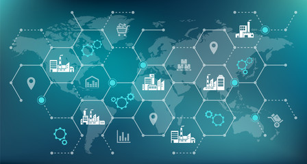 global company network - growth, trade & logistics - vector illustration Wall mural