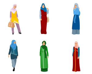 Set of muslim women