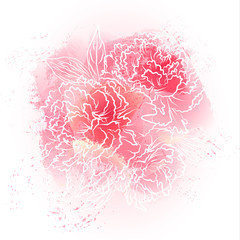 Beautiful watercolor print with flowers. Template for romantic greeting card or wedding invitation. Vector.