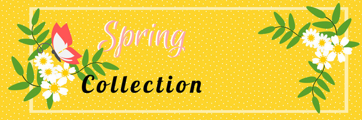 Vector illustration of Spring collection banner with flowers for online shopping, advertising and website. Pastel tone.