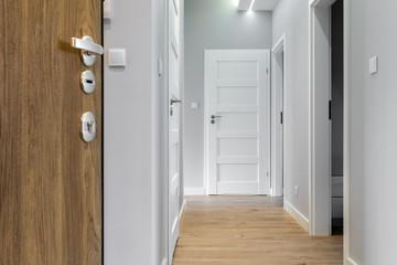 Corridor with wooden floor