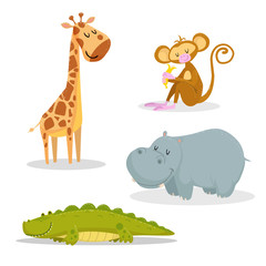 Cartoon trendy style african animals set. Giraffe, sitting monkey with banana, crocodile and hippo. Closed eyes and cheerful mascots. Vector wildlife illustrations.