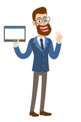 Victory! Hipster Businessman holding tablet PC and showing victory hand sign or quotes hand sign