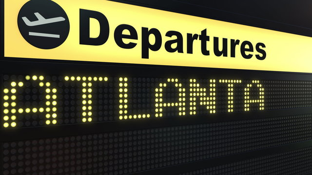 Flight to Atlanta on international airport departures board. Travelling to the United States conceptual 3D rendering