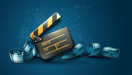 Online cinema art movie poster design with clapper