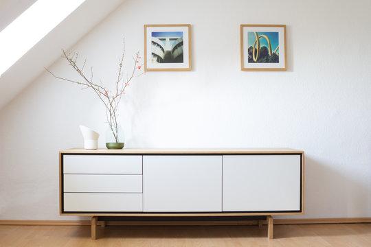 Modern sideboard in bright living room
