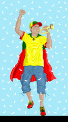 """Portugal Soccer Fan with Bugle"" Portuguese supporter, confetti papers and background are in different layers."