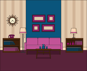Room in flat design. Retro living room interior 60s in line art. Vector graphics. Linear illustration. Thin line vintage home space with sofa, telephone and lamps. House equipment 70s. Background 50s.