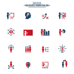 Universal business training icons set. Vector.