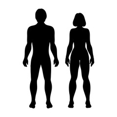 Silhouettes women and men on white background