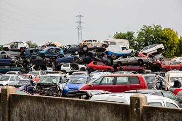 Broken cars Old Junk On Junkyard