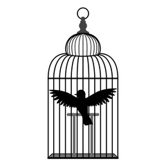 A simple bird in a cage. Black and white silhouette, Isolated, white background