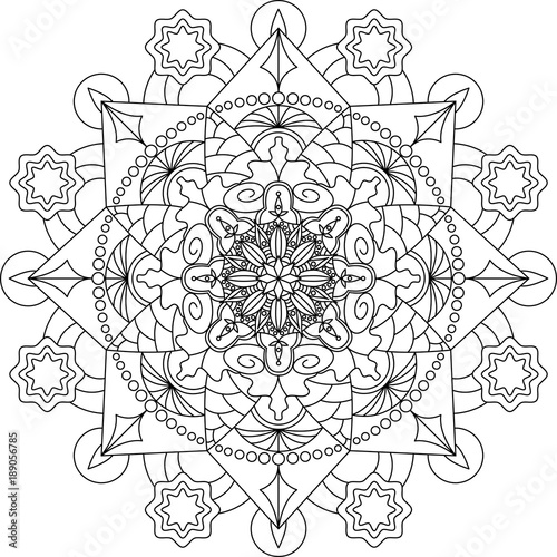 Mandala Adult Coloring Book Outline For Page Decorative