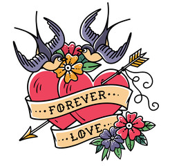 Tattoo art. Tattoo two hearts pierced by arrow. Hearts with flowers, ribbon and swallows. Forever love. Valentines Day.