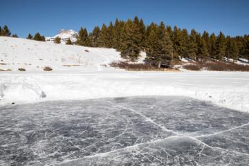 Pond skating rink in the San Juan mountains of Colorado