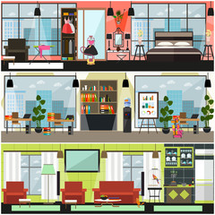 Vector home and office cleaning interior poster, banner set