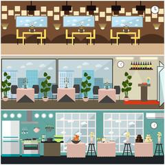 Vector restaurant interior set in flat style design