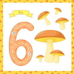 Cute children Flashcard number one tracing with 6 mushrooms for kids learning to count and to write. learning the numbers 0-10, Flash Cards, educational preschool activities, worksheets for kids