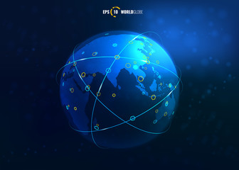 Vector 3D Sci-Fi World Map Globe with Internet Connections