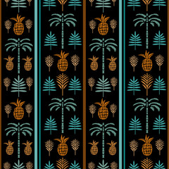 Seamless pattern palm trees, pineapples, leaves