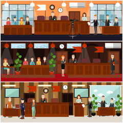 Legal trial concept vector flat poster set