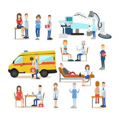 Group of medical doctors, paramedics and patients vector flat illustration