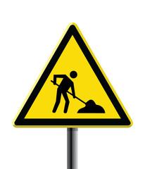 under construction road sign triangular