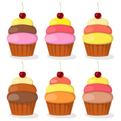 Cupcakes with colored cream and cherry, set. Vector illustration.