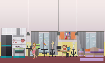 Family characters at home vector flat icons set