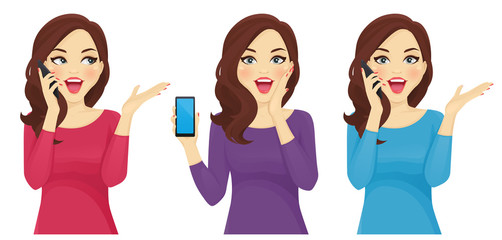 Surprised woman with phone illustration vector set